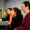 "Amesbury: Answering test questions during a reahearal for the ""High School Quiz Bowl"" are Amesbury High students from left, Peter Siess, James Pelkey, Lauren Joyce and Samantha Fortin with Tyler Lay and Patrick Hopkins out of view. Bryan Eaton/Staff Photo"