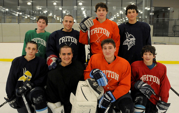 Byfield: Triton High varsity hockey team has four sets  of brother, from left, top then bottom, Mike Fish and Jared Salmon; Mike and Andy Balbo; Sam and Matt Velonis and Cam and Zack D'Agostino. Bryan Eaton/Staff Photo