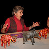 "Newburyport: Gloria Papert of Newburyport as ""Julia"" reacts to Dennis Flynn of Byfield as ""Al"" as he touches one of her lucky elephants at a bingo game set in Florida. The play ""Touching Elephants was written by Steve Fario. Bryan Eaton/Staff Photo"