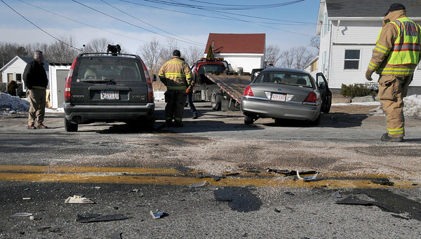 Salisbury: One person was transported to the hospital in this two-crash on Route One in Salisbury late yesterday morning across from Mapow Thai restaurant. Traffic coming south over the Gillis Bridge was diverted around Ferry Road back to Salisbury Square. Bryan Eaton/Staff Photo