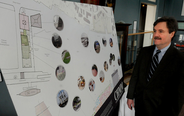 Newburyport: Mark Guay, Newburyport Maritime Society director, and staff created this bulletin board showing the plans, including the Custom House, for the next decade. Bryan Eaton/Staff Photo