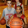 Amesbury: Amesbury basketball underclassmen having a good season, clockwise from front, Stephan Deas, Matt Talbot and Tyler Lay. Bryan Eaton/Staff Photo