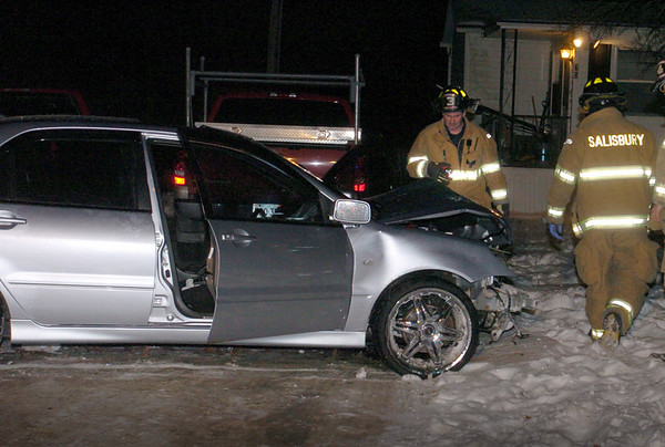 Salisbury: Two men were flown to Boston Hospitals after the car they were in, along with two other occupants, hit a telephone pole on Ferrry Road in Salisbury late Wednesday night coming to a stop in a nearby lawn. The accident remains under investigation. Bryan Eaton/Staff Photo