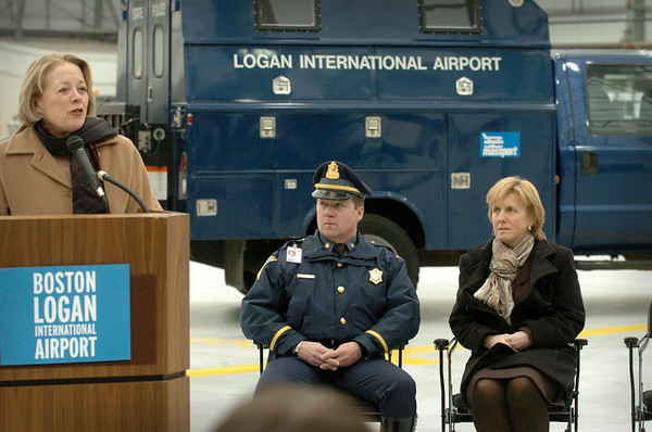 Boston: State police Lt. Steve Hines and his wife, Susan, listen to Congressman Nikki Tsongas during the unveiling of a robot to be used by the State Police Bomb Squad at Logan Airport. The robot is being dedicated to their son, US Army 1st Lt. Derek Hines who was killed in action in Afghanistan. Bryan Eaton/Staff Photo