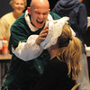 Amesbury: Amesbury Middle School teacher Mike Wesolowski plants a whipped cream pie onto administrative assistant Lisa Rochon. Bryan Eaton/Staff Photo