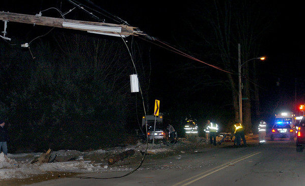 Salisbury: Two men were flown to Boston Hospitals after the car they were in, along with two other occupants, hit this telephone pole on Ferrry Road in Salisbury late Wednesday night. The accident remains under investigation. Bryan Eaton/Staff Photo