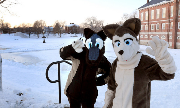 Newburyport: Mascots Gwen Albert, 13, left, West Newbury and Katie Fitzgerald, 14, of Newburyport will be greeting revelers to tomorrow's Winter Carnival. The weather is forecast to be sunny and around 30 degrees. Bryan Eaton/Staff Photo