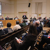 Amesbury: Mike Bertoullin with the engineering firm Parsons Brinckerhoff presents different options for the reconstruction of the Interstate 95 Whittier Bridge to an almost standing room-only audience at Amesbury Town Hall last night. Bryan Eaton/Staff Photo