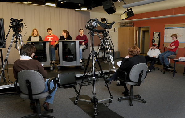 Amesbury: Amesbury High School quiz contestants are tested in rehearsal by Kathy Beaudoin, left, and Margaret Furlong, backs to camera. The six contestants, from left, Peter Siess, James Pelkey, Lauren Joyce, Samantha Fortin, Tyler Lay and Patrick Hopkins. Bryan Eaton/Staff Photo
