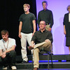 """Newburyport: Ben Mead, seated, rehearses a scene with fellow cast members for the upcoming Firehouse production, """"The Laramie Project"""". Photo by Ben Laing/Staff Photo"""