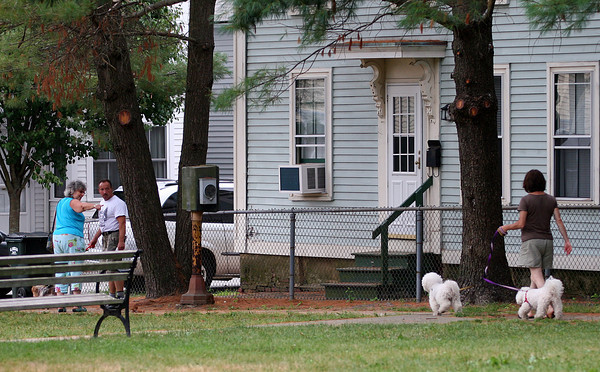 Newburyport: Atwood Park in Newburyport is a popular spot for dog owners, but the City is debating whether or not to impose larger fines for owners that do not clean up after their dogs. Photo by Ben Laing/Staff Photo
