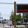 Newbury: The digital sign in front of PITA Hall on Plum Island displayed the temperature Tuesday afternoon as 114 degrees. The sign may have been malfunctioning but temperatures were over one hundred degrees for much of the day. Photo by Ben Laing/Staff Photo