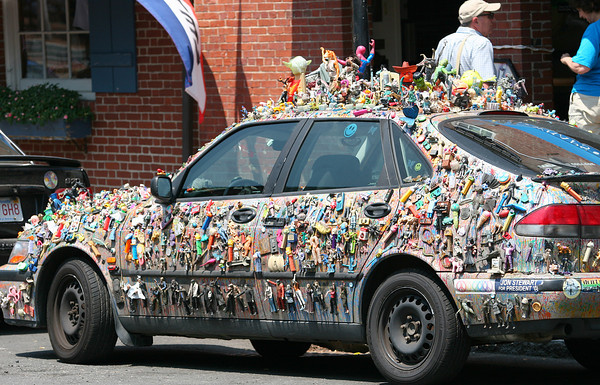 Newburyport: Summer in Newburyport wouldn't be complete without a sighting of this car, a Saab covered in toys, which was parked on Liberty Street Wednesday. Photo by Ben Laing/Staff Photo