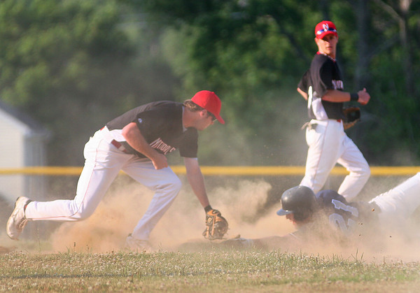 Amesbury: Newburyport Nationals second baseman, JT O'Leary, just misses tagging out a Lynn player during the first inning of Wednesday's game in Amesbury. Photo by Ben Laing/Staff Photo