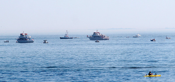 Newbury: Dozens of boats enjoyed the holiday weekend in the waters off of Plum Island Monday morning. Photo by Ben Laing/Staff Photo