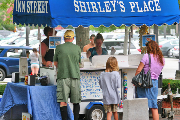 Newburyport: Newburyport landmark, Shirley's Place on Inn Street is not only a downtown tradition, but also one of only three vendors with a city license to operate downtown. Photo by Ben Laing/Staff Photo