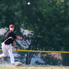 Amesbury: Newburyport Nationals' shortstop, Rourke, delivers a throw to first base during Wednesday night's game against Lynn. Photo by Ben Laing/Staff Photo