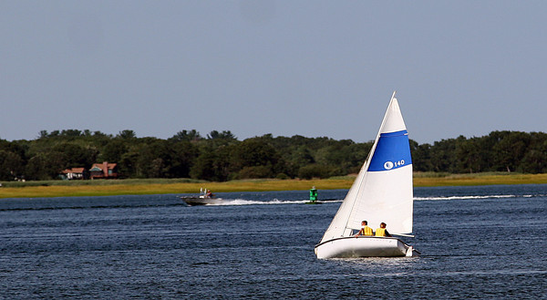 Newburyport: Campers at the American Yacht Club's sailing camp head back to the dock Tuesday afternoon. Photo by Ben Laing/Staff Photo