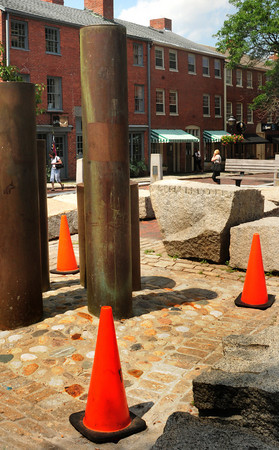 "Newburyport: Newburyport's Inn Street Fountain remains closed due to a bacteria problem, but some are hoping to reopen it as a ""display"" fountain instead of one where children can romp through on hot days. Bryan Eaton/Staff Photo"
