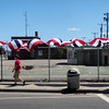 Salisbury: Bunting hangs at the site of the former batting cages which was bought by the Thompson Group several years ago. The space will be used for a gravel parking lot. Bryan Eaton/Staff Photo