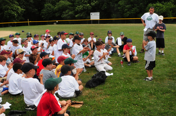 West Newbury: The Pentucket Sachem Baseball School winds down practice Thursday afternoon with team spirit exercises and giving out daily awards to some of the participants. Bryan Eaton/Staff Photo