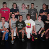 Danvers: Members of the Mercury Rising wrestling camp, front, from left, Jeff Funk, Brad Meuse, Jake Benjamin, Tom Funk, Christian Vallis, Luke Rabel and Matt Prescott. Back, from left, Ben Lane, Liam Donovan, Brendan O'Donnell, Kendrick Poulin, Ben Clemenzi, Eric Gesualdi and Drew Brennan. Bryan Eaton/ Staff Photo