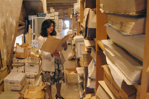 Newburyport: Newburyport Mayor Donna Holaday wants to get rid of old files in the attic of city hall, some dating back to the 1940's. Bryan Eaton/Staff Photo