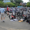 Amesbury: Athletes make the transition from swimming to cycling at Lake Gardner in Amesbury for the Amesbury Dam Triathlon Saturday morning. Jim Vaiknoras/Staff photo