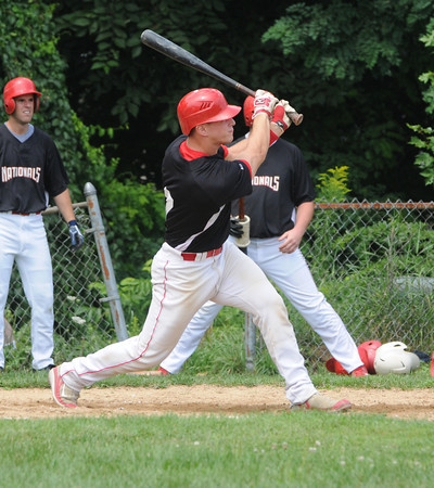 Amesbury: Nationals Jared Notogiacomo with a RBI double  against Rockland in their Stan Musial tournament game at Amesbury high Staurday. Jim Vaiknoras/Staff photo