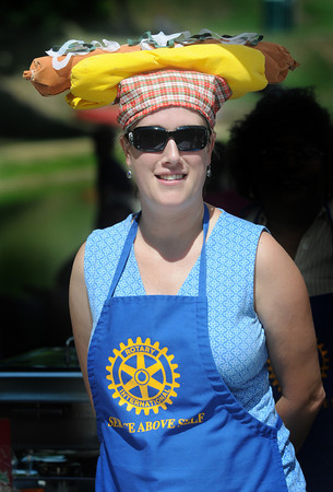 Newburyport: Kate Kelly  of the Rotary Club wears a hot dog hat while selling sausages at Old-Fashioned Sunday on the Bartlet Mall In Newburyport. Jim Vaiknoras/Staff photo