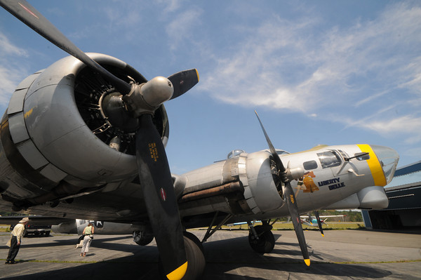 "lawrence:The Liberty Belle a restored wartime Boeing B-17 Flying Fortress aircraft will be flying over the Merrimack Valley this weekend , taking off from Lawrence Municipal Airport,the  public is invited view the plane and  book a ride.<br /> Those interested in taking a ride to the Gloucester coast and back Saturday and Sunday for $430 per person ($395 for Liberty Foundation members). are encouraged to call 918-340-0243, or visit their website  <a href=""http://www.libertyfoundation.org"">http://www.libertyfoundation.org</a>.<br /> With proceeds from the flight benifiting the nonprofit Liberty Foundation, which restored the aircraft over 14 years.Jim vaiknoras/Staff photo"