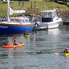 Amesbury: A group of kayakers paddle along the Merrimack River near Deer Island in Amesbury Sunday morning. Jim Vaiknoras/Staff photo