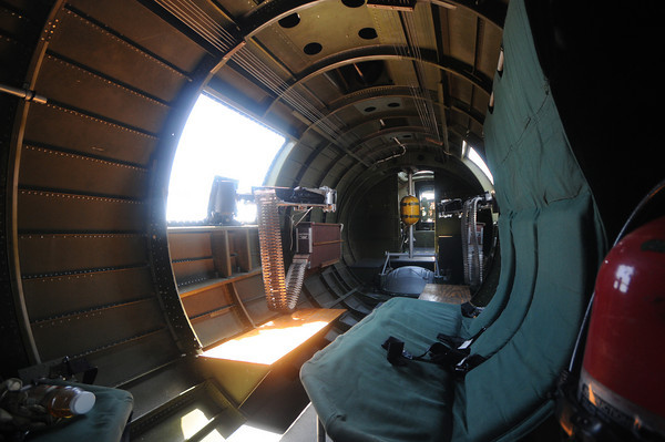 View near the waist gunner position inside the Liberty Belle, a restored World War 2 era B-17 Flying Fortress during a flight over the Merrimack Valley. Jim Vaiknoras/staff photo