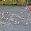 Amesbury: Swimmer make the turn in Lake Gardner in Amesbury at the Amesbury Dam Triathlon Saturday morning. Jim Vaiknoras/Staff photo