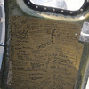 Messages from veteran's on the door of the Liberty Belle, a restored World War 2 era B-17 Flying Fortress during a flight over the Merrimack Valley. Jim Vaiknoras/staff photo