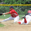 Amesbury: Rockland Brian Maloney can't make the play as Amesbury National's Scottie LaValley steals second in their Stan Musial tournament game at Amesbury high Staurday. Jim Vaiknoras/Staff photo