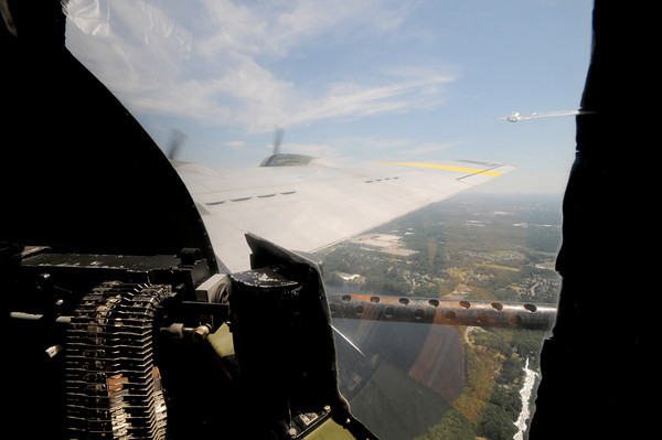 Waist gunner's view from the Liberty Belle, a restored World War 2 era B-17 Flying Fortress during a flight over the Merrimack Valley. Jim Vaiknoras/staff photo