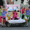 Newburyport: The Atria Merrimack Place bed flies down Federal Street in the Yankee Homecoming Bed Race in Newburyport Thursday night. Jim Vaiknoras/Staff photo