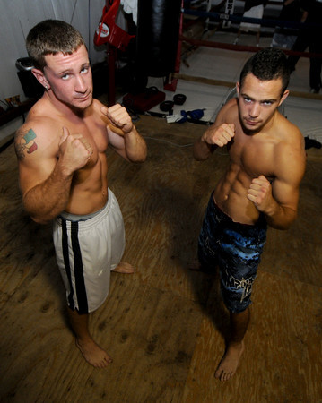 Salisbury: Justin Clough and Josh Bourque prepare for their upcoming GFL matches at Dan Green's Gym in Salisbury. Jim Vaiknoras/Staff photo