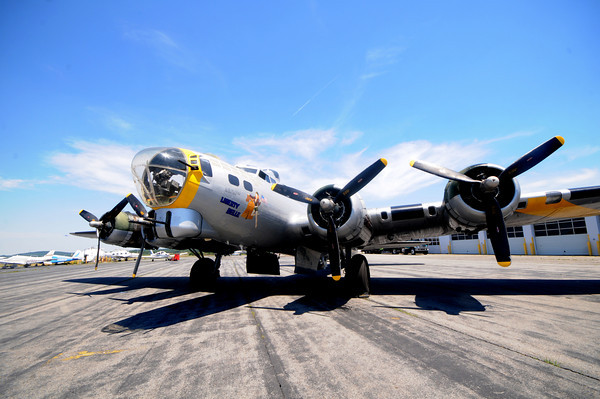 """lawrence:The Liberty Belle a restored wartime Boeing B-17 Flying Fortress aircraft will be flying over the Merrimack Valley this weekend , taking off from Lawrence Municipal Airport,the  public is invited view the plane and  book a ride.<br /> Those interested in taking a ride to the Gloucester coast and back Saturday and Sunday for $430 per person ($395 for Liberty Foundation members). are encouraged to call 918-340-0243, or visit their website  <a href=""""http://www.libertyfoundation.org"""">http://www.libertyfoundation.org</a>.<br /> With proceeds from the flight benifiting the nonprofit Liberty Foundation, which restored the aircraft over 14 years.Jim vaiknoras/Staff photo"""