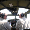 Lawrence:Liberty Belle pilot Bob Hill, left, and co-pilot John Bode fly the restored B-17 out of the Lawrence Airport. Jim Vaiknoras/Staff photo