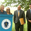 Salisbury: Holly Shay, mother of the the late Jordan Shay, speaks at a ceremony naming the road to Salisbury Beach State Reservation after the Amesbury soldier who died in Iraq. Also attending was his girlfriend, Kelsey Chandonnet, Rep. Michael Costello and Sen. Steven Baddour. Bryan Eaton/Staff Photo