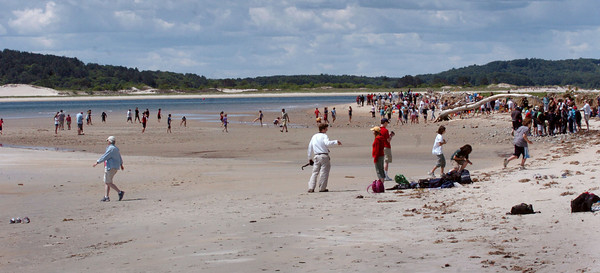 Plum Island: Several school groups, including Amesbury Middle School, occupied the widening beach at Sandy Point. Bryan Eaton/Staff Photo