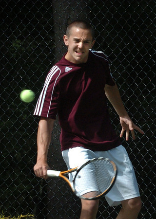 Newburyport: Nick Filipancic in first singles against Austin Prep. Bryan Eaton/Staff Photo