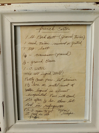 Newburyport: My grandmother's creton recipe hangs framed in my kitchen. Bryan Eaton/Staff Photo