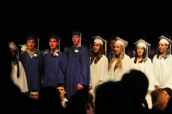Georgetown: Georgetown seniors sings the National Anthem. Bryan Eaton/Staff Photo