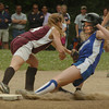 Georgetown: Georgetown's Tori Newbury gets tagged out at second by the Weston shortstop. Bryan Eaton/Staff Photo