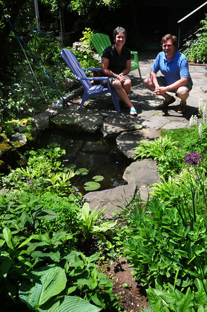 Newburyport: Jean and Steven Berger have a small lilly pond in their 33 Middle Street garden in Newburyport. Bryan Eaton/Staff Photo