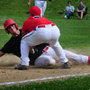 Amesbury: The Saugus third baseman tags out Amesbury's Ward after he earlier stole second base. Bryan Eaton/Staff Photo