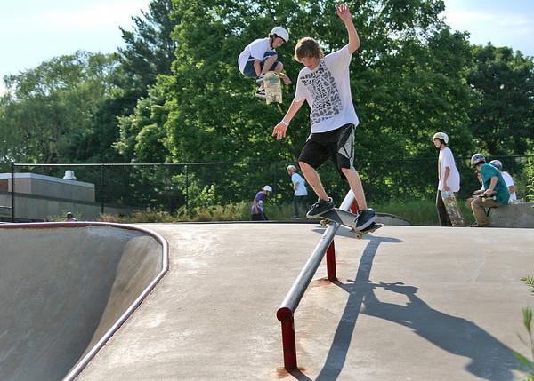 Newburyport: Nolan Munroe, 17, of Rindge, NH, grinds a rail during Tuesday's Skatefest at the Newburyport Skate Park. Photo by Ben Laing/Staff Photo